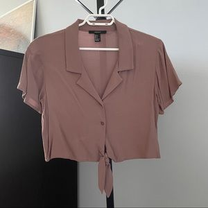 Forever 21 Mauve Tie-Front Cropped Blouse